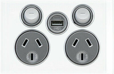 Clipsal Saturn Double Powerpoint with USB Charger Pure White  4025USBC-PW