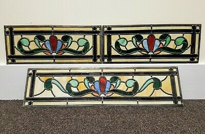Vintage Reclaimed Set Of 3 Leaded Stained Glass Panels Inserts
