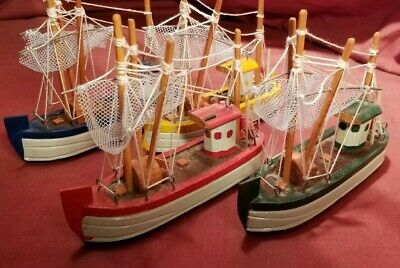 Lot Of 4 Mini Trawler Fishing Boats Wooden Vintage Old Toy Decorations Nautical