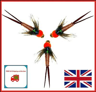 Trout Flies for Fly Fishing COPPER JOHN HOTHEADS Hook 10 12 14 UK