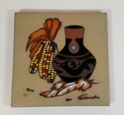 Cleo Teissedre Hand Painted Ceramic Tile Coaster Trivet Wall Decor