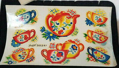 Vintage DECALS American's Betty Best Decalcomania TEACUP and TEAPOT Full Sheet