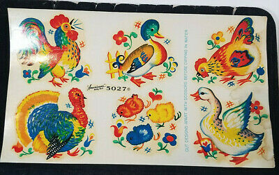 Vintage DECALS Betty Best Decalcomania CHICKENS ROOSTERS DUCKS Full Sheet