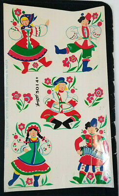 Vintage DECALS Betty Best Decalcomania Russian Hungarian Costumes Full Sheet
