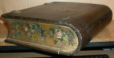 dated 1866 wooden bible box with original bible paint decorated folk art
