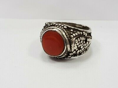 RRR Rare collectible Italian Renaissance silver ring with red coral 18th century