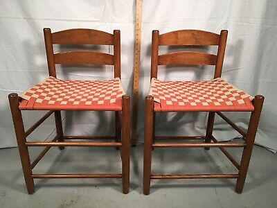 Vintage Pair Signed Shaker Workshop Cherry Ladder Back Chairs