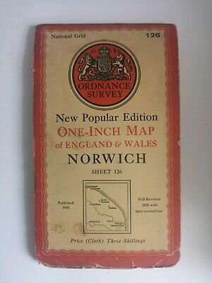 Vintage 1945 ORDNANCE SURVEY MAP OF NORWICH One-Inch cloth map 126 Norwich