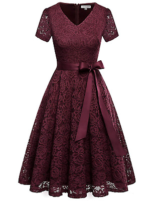Gardenwed Women's Bridesmaid Floral Lace Formal Party Dress Vintage Cocktail 2XL