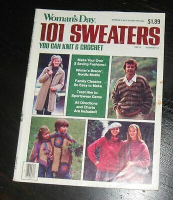Womans Day magazine 101 Sweaters 14 crochet KNIT pattern designs FAMILY clothing