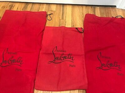 b6eca3bd1dd AUTHENTIC CHRISTIAN LOUBOUTIN Shoe Dust Bag with Drawstring, Red, 14 ...
