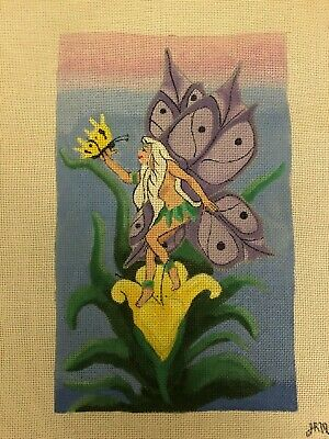 JRM Handpainted Needlepoint Canvas Fairy Butterfly Flower Purple