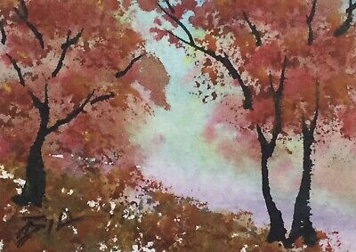 ACEO ATC original art miniature painting ' Autumn Red ' by Bill Lupton