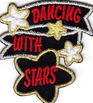 """/""""LINE DANCING/"""" Iron On Embroidered Applique Patch//Dance Party Music"""
