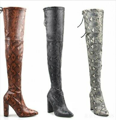 b2334c9b60e6 Snakeskin Print Pointed Thigh High Over The Knee Women's Boots Block High  Shoes