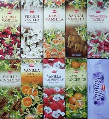 20 - 200 VANILLA & FRUIT Incense Sticks CHOOSE SCENT or MIXED Bulk Pack HEM HEX