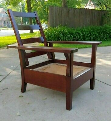 Antique Arts & Crafts Mission Morris Chair Recliner Stickley Brothers Mahogany