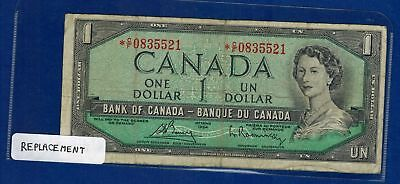1954 Canada  dollar Bill Replacement note *C/F  BC-37 cA
