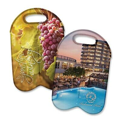 100x Custom Branded Neoprene Double Wine Cooler Bag-Full Colour/Wine Carriers