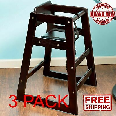 3 Pack Stacking Restaurant Commercial Wood High Chair Dark Stackable Chairs CPS