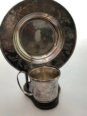 Vintage NAPIER Child's Dish Set Bowl Cup & Holder Silverplate CIRCUS ANIMALS ZOO