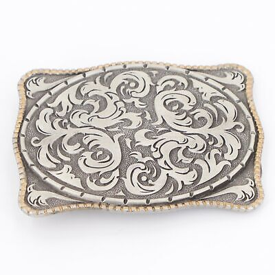 VTG Silver Plated - Storming Silver Filigree Ornate Solid Belt Buckle - 142.5g