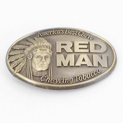 VTG Brass - 1988 Red Man Chewing Tobacco Indian Chief Belt Buckle - 61g