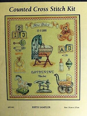 Anchor Premier Collection Birth Sampler Counted Cross Stitch Kit NEW APC401