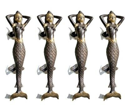 "4 MERMAID brass door PULL aged old style look heavy house PULL handle 13"" B"