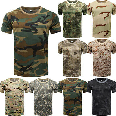 UK Mens Military Camouflage Shirt Top Short Sleeve Tee Camo Army Combattactical