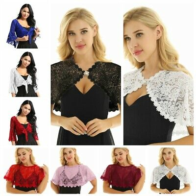 Women's Floral Lace Bolero Jacket Shrug Cardigan Cropped Top Bridal Cape Shawls