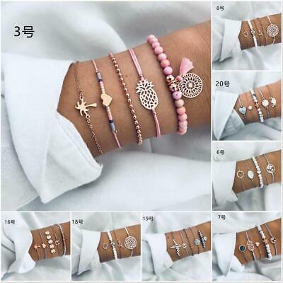 Women Fashion Jewelry Set Rope Natural Stone Crystal Chain Alloy Bracelets Gift