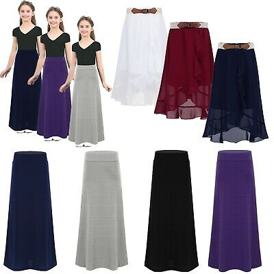 Girls Summer Casual Chiffon Skirt Child Party Holiday Ruffle Front Maxi Skirt