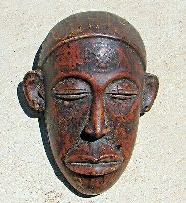 Vintage Traditional African mask Handmade from Wood Tribal Design w/ patterning