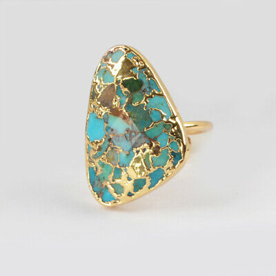 Adjustable Gold Plated Triangle Copper Blue Real Turquoise Cuff Open Ring BG1837