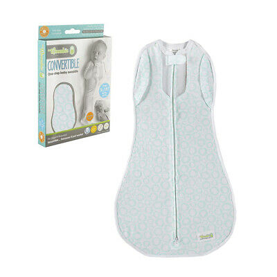 Woombie Convertible Baby Cocoon Swaddle (3-6 Months, Mint O's Vented)