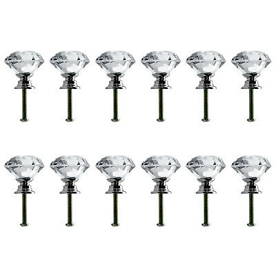 Neewer 30mm/1.18inch Clear Crystal Glass Door Knob Drawer Pull Handle(12Pack)