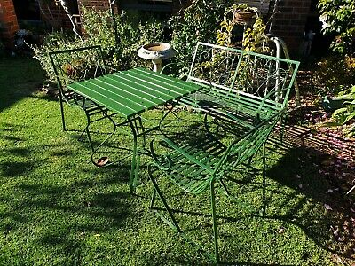 Vintage Wrought Iron Table 2 Chairs And A Bench Seat