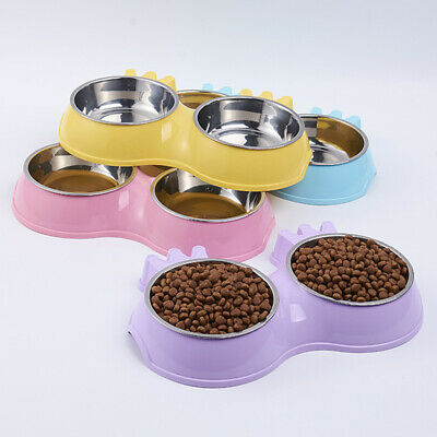 New Stainless Non-slip Dog Puppy Cat Pet Feeding Bowl Food Water Double Dish HQ
