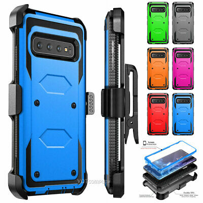 For Samsung Galaxy S10 Plus/S10/S10e Rugged Cover Case With Kickstand+Belt Clip