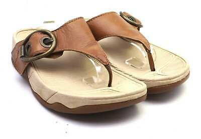 Fitflop Womens UK Size 4 Brown Leather Flip-Flops