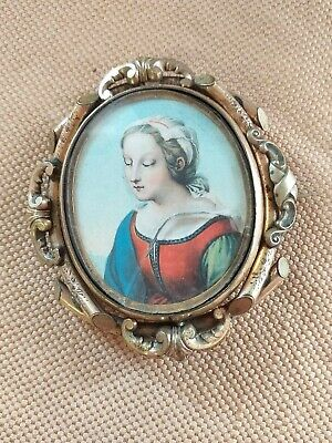 A 19th C. PINCHBECK MOURNING SWIVEL BROOCH PAINTED PORTRAIT MINIATURE & PHOTO