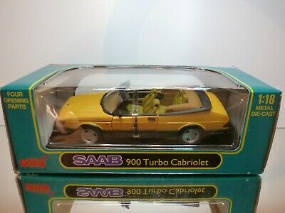 Anson 30307 Saab 900 Turbo Cabriolet - Monte Carlo Yellow 1:18 -Excellent In Box