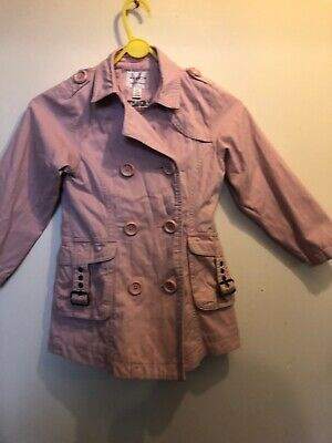 Next Girls Fitted Belted Double Breasted Jacket Pink Coat Age 5-6 Years