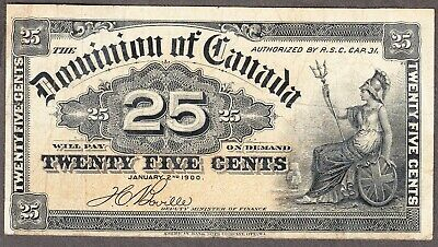 1900 Dominion of Canada - 25 Cents Bank Note - Fine - DC-15b - AC27