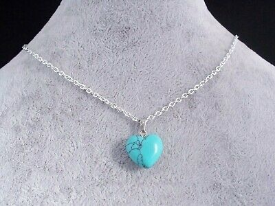 Lovely Turquoise 16mm Heart Pendant Silver Plated Chain Necklace.Handmade