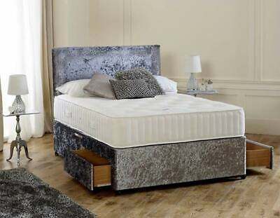 New Memory Sprung Crushed Velvet Divan Bed Set With Free Matching Headboard