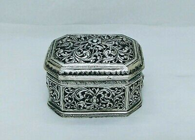 Antique Burmese Silver Octagonal Lime Box, Repousse, Shan States, Late 19Th C