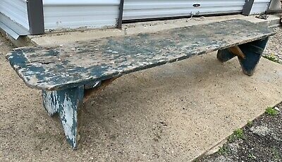 "Primitive 77"" Long Antique Water Bucket Bench Farmhouse Rustic Chippy Furniture"