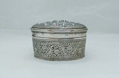 Antique Burmese Silver Oval Lime Box, Lions In Foliage, Shan States, Late 19Th C